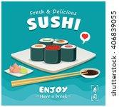 vintage sushi poster design.... | Shutterstock .eps vector #406839055