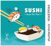 vintage sushi poster design... | Shutterstock .eps vector #406839064
