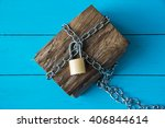 Padlock Locked Wooden Treasure...