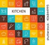vector line art kitchenware and ... | Shutterstock .eps vector #406844995