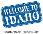 welcome to idaho blue square...   Shutterstock .eps vector #406848289