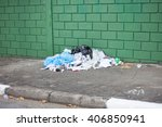 Garbage Pile On Street In Fron...