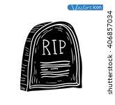 tombstone halloween icon.... | Shutterstock .eps vector #406857034
