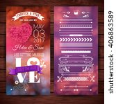purple and pink save the date... | Shutterstock .eps vector #406863589