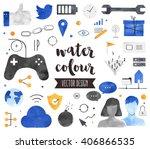 premium quality watercolor... | Shutterstock .eps vector #406866535