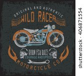 wild racer vintage print with... | Shutterstock .eps vector #406871554
