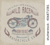 wild racer vintage print with... | Shutterstock .eps vector #406871581