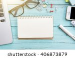 office table with notepad ... | Shutterstock . vector #406873879