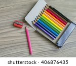 colored pencils on wooden... | Shutterstock . vector #406876435