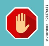 no entry hand sign with long... | Shutterstock .eps vector #406876651