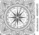 graphic wind rose compass drawn ... | Shutterstock .eps vector #406882435