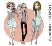 Cute Fashion Cartoon Girls In...
