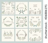 vector set  floral wreath and...   Shutterstock .eps vector #406886191