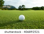 white golf ball on fairway with ... | Shutterstock . vector #406892521