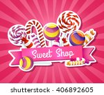 many chocolates  sweets and... | Shutterstock .eps vector #406892605