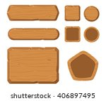 game assets  wood gui for game. | Shutterstock .eps vector #406897495