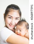 happy mother holding adorable... | Shutterstock . vector #406897591
