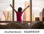 back view of young woman... | Shutterstock . vector #406898509