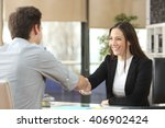 happy businesswoman handshaking ... | Shutterstock . vector #406902424