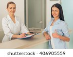 beautiful young female doctor... | Shutterstock . vector #406905559