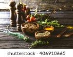 vegetables on wood. bio healthy ... | Shutterstock . vector #406910665