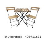 A Table And Two Chairs On White