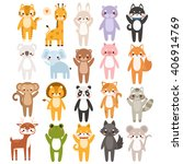 big set of cute cartoon animals ... | Shutterstock .eps vector #406914769