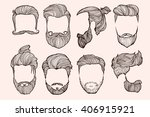 man hairstyle. set of hand... | Shutterstock .eps vector #406915921
