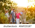 happy family on vacation posing ... | Shutterstock . vector #406923187