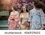 three european girls wearing...   Shutterstock . vector #406929601