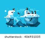 arctic polar bear with penguins | Shutterstock .eps vector #406931035