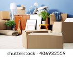 packed household goods for... | Shutterstock . vector #406932559