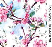 spring nature watercolor... | Shutterstock . vector #406934029