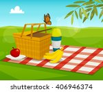 summer picnic with park... | Shutterstock .eps vector #406946374