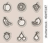 fruits web icons  brown contour ... | Shutterstock .eps vector #40695187