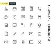 vector set office line icons   Shutterstock .eps vector #406960441