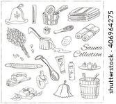 sauna accessories doodle set.... | Shutterstock .eps vector #406964275