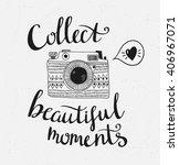 retro photo camera with stylish ... | Shutterstock .eps vector #406967071