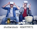 cheerful friends are watching... | Shutterstock . vector #406979971