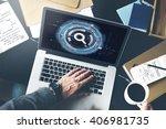 technology digital network... | Shutterstock . vector #406981735