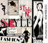fashion collage with freehand... | Shutterstock . vector #406988101
