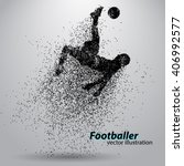 silhouette of a football player ... | Shutterstock .eps vector #406992577