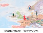 pinned on map of paris in... | Shutterstock . vector #406992991