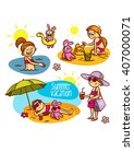 summer vacation travel family | Shutterstock .eps vector #407000071