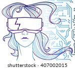 vector hand drawn hi tech... | Shutterstock .eps vector #407002015