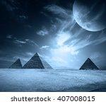 egypt pyramids on a black sky... | Shutterstock . vector #407008015