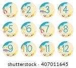 vector twelve months sticker... | Shutterstock .eps vector #407011645