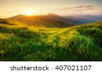 Stock photo mountains during sunset beautiful natural landscape in the summer time 407021107
