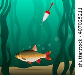 fishing. under the water. the... | Shutterstock .eps vector #407025211