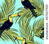 toucan  exotic birds  tropical... | Shutterstock .eps vector #407027905